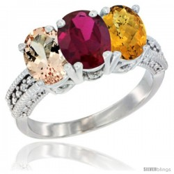 14K White Gold Natural Morganite, Ruby & Whisky Quartz Ring 3-Stone Oval 7x5 mm Diamond Accent
