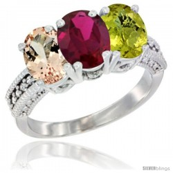 14K White Gold Natural Morganite, Ruby & Lemon Quartz Ring 3-Stone Oval 7x5 mm Diamond Accent