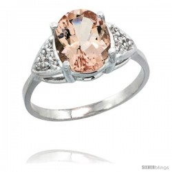 14k White Gold Diamond Morganite Ring 2.40 ct Oval 10x8 Stone 3/8 in wide