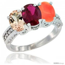 14K White Gold Natural Morganite, Ruby & Coral Ring 3-Stone Oval 7x5 mm Diamond Accent