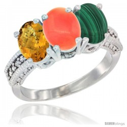 10K White Gold Natural Whisky Quartz, Coral & Malachite Ring 3-Stone Oval 7x5 mm Diamond Accent