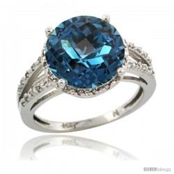 Sterling Silver Diamond Natural London Blue Topaz Ring 5.25 ct Round Shape 11 mm, 1/2 in wide