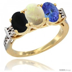10K Yellow Gold Natural Black Onyx, Opal & Tanzanite Ring 3-Stone Oval 7x5 mm Diamond Accent