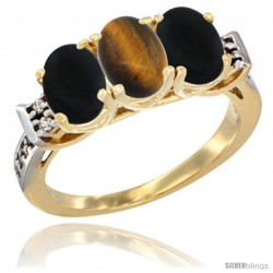 10K Yellow Gold Natural Tiger Eye & Black Onyx Sides Ring 3-Stone Oval 7x5 mm Diamond Accent