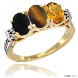 10K Yellow Gold Natural Black Onyx, Tiger Eye & Whisky Quartz Ring 3-Stone Oval 7x5 mm Diamond Accent