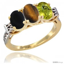 10K Yellow Gold Natural Black Onyx, Tiger Eye & Lemon Quartz Ring 3-Stone Oval 7x5 mm Diamond Accent