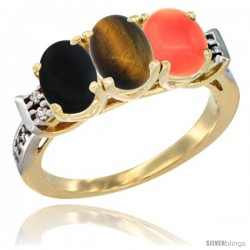 10K Yellow Gold Natural Black Onyx, Tiger Eye & Coral Ring 3-Stone Oval 7x5 mm Diamond Accent