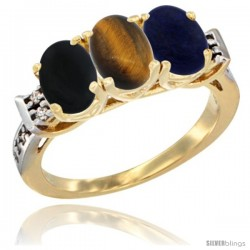 10K Yellow Gold Natural Black Onyx, Tiger Eye & Lapis Ring 3-Stone Oval 7x5 mm Diamond Accent