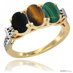 10K Yellow Gold Natural Black Onyx, Tiger Eye & Malachite Ring 3-Stone Oval 7x5 mm Diamond Accent