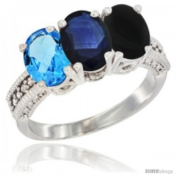 14K White Gold Natural Swiss Blue Topaz, Blue Sapphire & Black Onyx Ring 3-Stone 7x5 mm Oval Diamond Accent