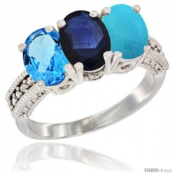 14K White Gold Natural Swiss Blue Topaz, Blue Sapphire & Turquoise Ring 3-Stone 7x5 mm Oval Diamond Accent