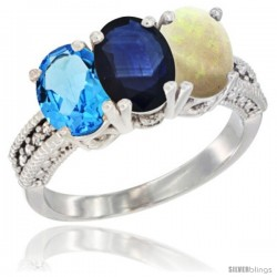 14K White Gold Natural Swiss Blue Topaz, Blue Sapphire & Opal Ring 3-Stone 7x5 mm Oval Diamond Accent