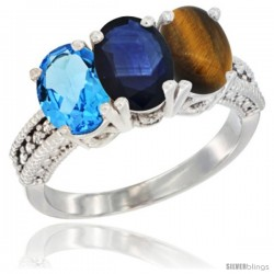 14K White Gold Natural Swiss Blue Topaz, Blue Sapphire & Tiger Eye Ring 3-Stone 7x5 mm Oval Diamond Accent