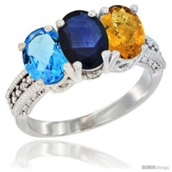 14K White Gold Natural Swiss Blue Topaz, Blue Sapphire & Whisky Quartz Ring 3-Stone 7x5 mm Oval Diamond Accent