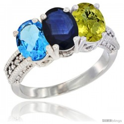 14K White Gold Natural Swiss Blue Topaz, Blue Sapphire & Lemon Quartz Ring 3-Stone 7x5 mm Oval Diamond Accent