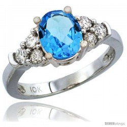 14k White Gold Ladies Natural Swiss Blue Topaz Ring oval 9x7 Stone Diamond Accent