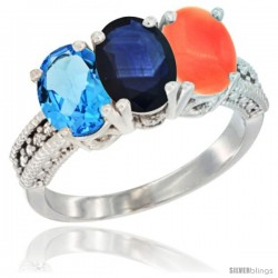 14K White Gold Natural Swiss Blue Topaz, Blue Sapphire & Coral Ring 3-Stone 7x5 mm Oval Diamond Accent