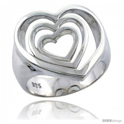 Sterling Silver Cascading Hearts Ring Flawless finish 11/16 in wide