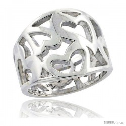 Sterling Silver Cigar Band Ring Cutout Hearts Flawless finish 5/8 in wide