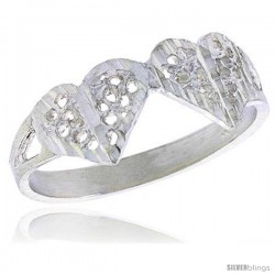 Sterling Silver Double Heart Filigree Ring, 1/4 in
