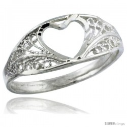 Sterling Silver Heart Cut-out Filigree Ring, 5/16 in