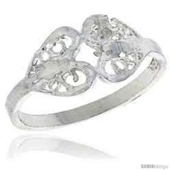 Sterling Silver Double Heart Filigree Ring, 1/4 in -Style Fr496
