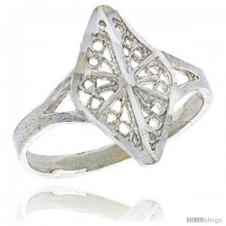 Sterling Silver Diamond-shaped Filigree Ring, 5/8 in -Style Fr498