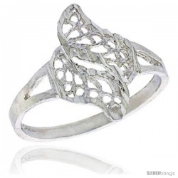 Sterling Silver Double Swirl Filigree Ring, 1/2 in