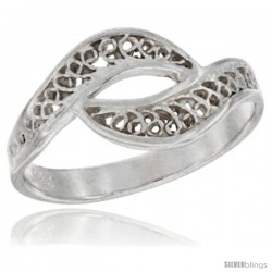 Sterling Silver Swirl Filigree Ring, 3/8 in