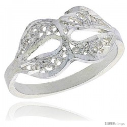 Sterling Silver Freeform Filigree Ring, 1/2 in -Style Fr502