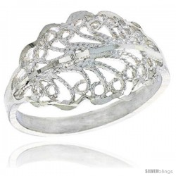 Sterling Silver Freeform Filigree Ring, 1/2 in -Style Fr503
