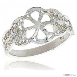 Sterling Silver Flower Cut-out Filigree Ring, 1/2 in
