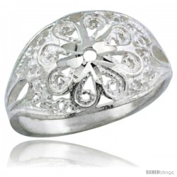 Sterling Silver Flower Filigree Ring, 1/2 in -Style Fr505