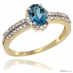 14k Yellow Gold Ladies Natural London Blue Topaz Ring oval 6x4 Stone Diamond Accent -Style Cy405178