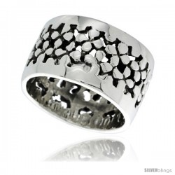 Sterling Silver Nugget Cut-out Wedding Band Ring 5/8 in wide