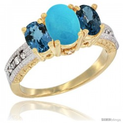 14k Yellow Gold Ladies Oval Natural Turquoise 3-Stone Ring with London Blue Topaz Sides Diamond Accent