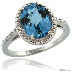 Sterling Silver Diamond Natural London Blue Topaz Ring 2.4 ct Oval Stone 10x8 mm, 1/2 in wide -Style Cwg05111