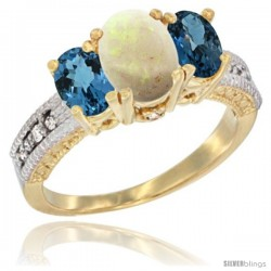 14k Yellow Gold Ladies Oval Natural Opal 3-Stone Ring with London Blue Topaz Sides Diamond Accent