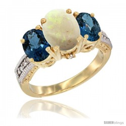 14K Yellow Gold Ladies 3-Stone Oval Natural Opal Ring with London Blue Topaz Sides Diamond Accent