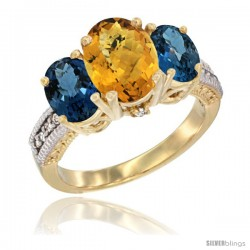 14K Yellow Gold Ladies 3-Stone Oval Natural Whisky Quartz Ring with London Blue Topaz Sides Diamond Accent