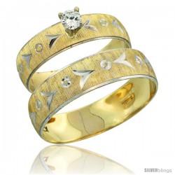 10k Gold 2-Piece Diamond Engagement Ring & Wedding Band Set his & Hers 0.10 cttw Rhodium Accent Diamond-cut -Style 10y507em