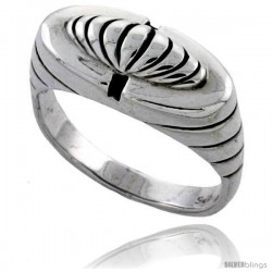 Sterling Silver Domed Striped Dome Ring 3/8 wide