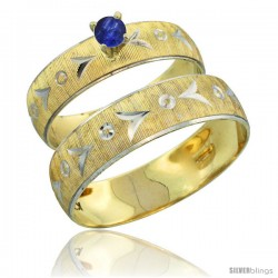 10k Gold 2-Piece 0.25 Carat Deep Blue Sapphire Ring Set (Engagement Ring & Man's Wedding Band) Diamond-cut -Style 10y507em