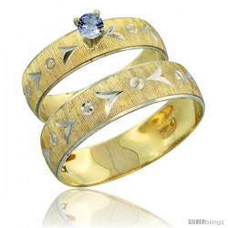 10k Gold 2-Piece 0.25 Carat Light Blue Sapphire Ring Set (Engagement Ring & Man's Wedding Band) Diamond-cut -Style 10y507em