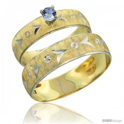10k Gold 2-Piece 0.25 Carat Light Blue Sapphire Ring Set (Engagement Ring & Man's Wedding Band) Diamond-cut -Style 10y507em