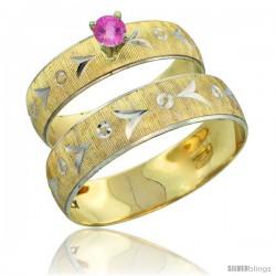 10k Gold 2-Piece 0.25 Carat Pink Sapphire Ring Set (Engagement Ring & Man's Wedding Band) Diamond-cut Pattern -Style 10y507em