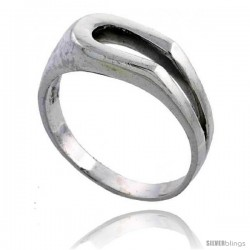 Sterling Silver Horseshoe Shape Center Cut-out Ring 3/8 wide