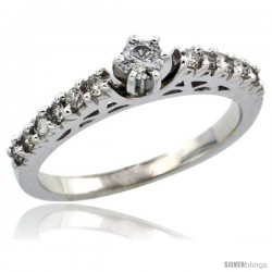 10k White Gold Diamond Engagement Ring w/ 0.43 Carat Brilliant Cut Diamonds, 3/32 in. (2.5mm) wide