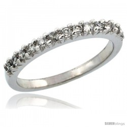 10k White Gold Ladies' Diamond Ring Band w/ 0.29 Carat Brilliant Cut Diamonds, 3/32 in. (2.5mm) wide