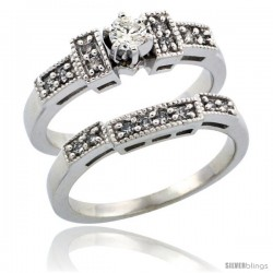 10k White Gold 2-Piece Diamond Engagement Ring Band Set w/ 0.37 Carat Brilliant Cut Diamonds, 1/8 in. (3mm) wide